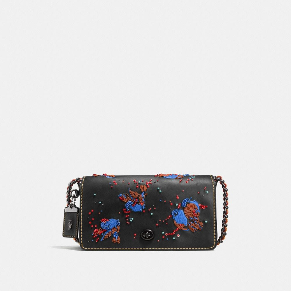 DINKY CROSSBODY IN GLOVETANNED LEATHER WITH MEADOWLARK EMBELLISHMENT