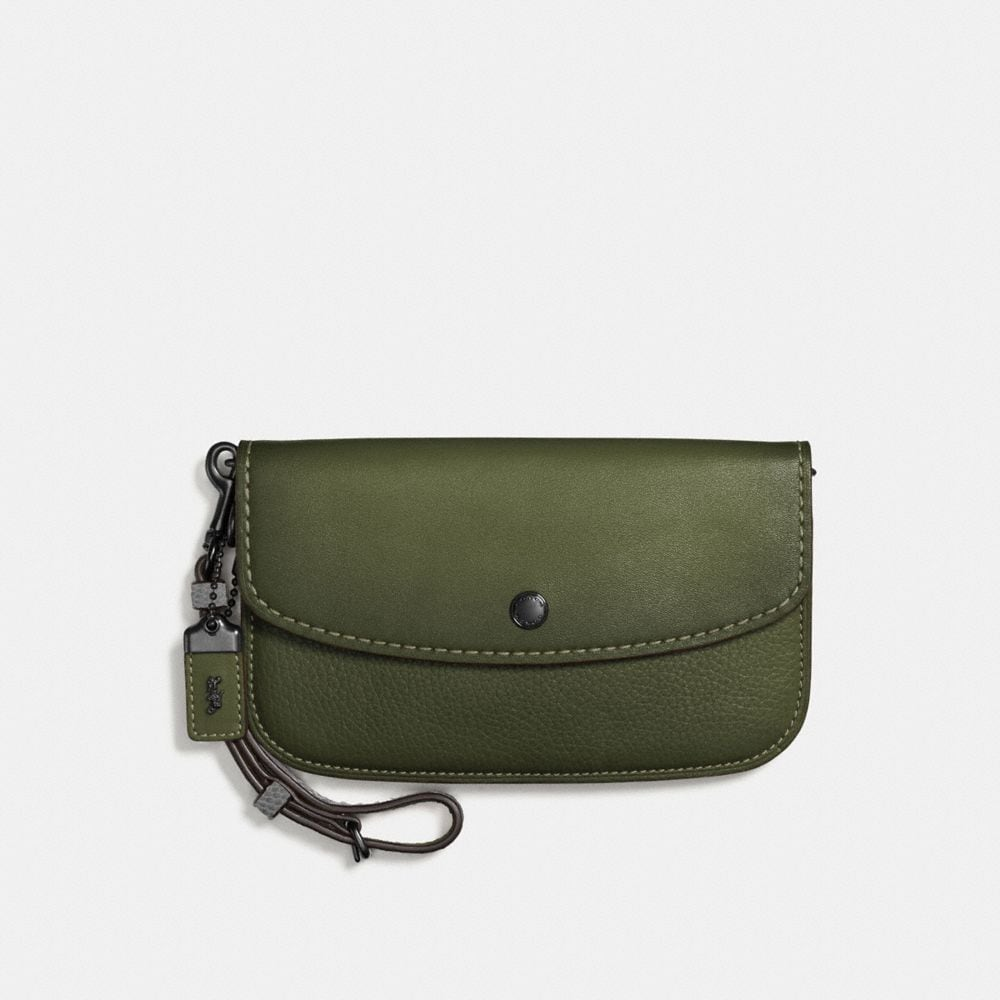 CLUTCH WITH COLORBLOCK SNAKESKIN HANDLE