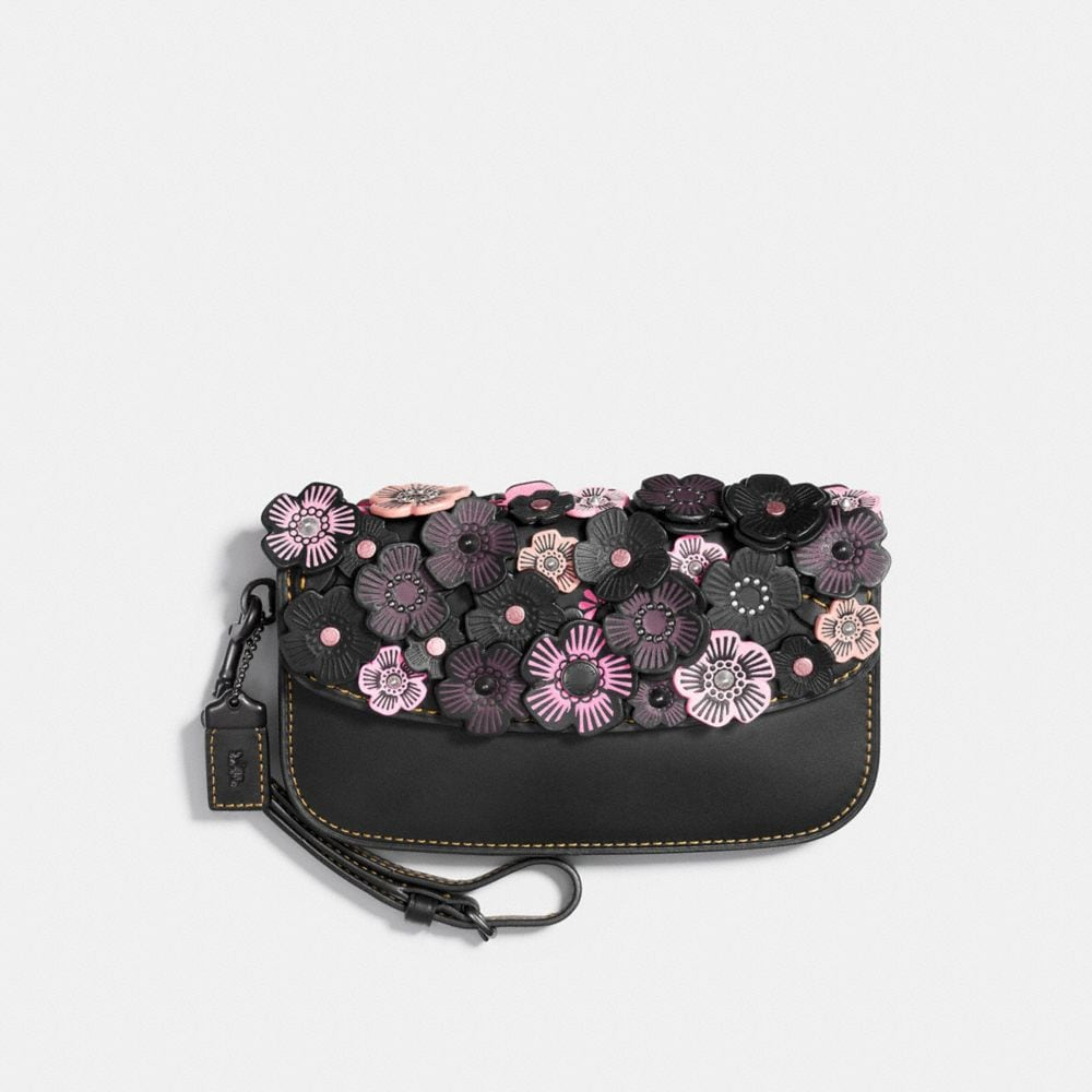 CLUTCH IN GLOVETANNED LEATHER WITH TEA ROSE