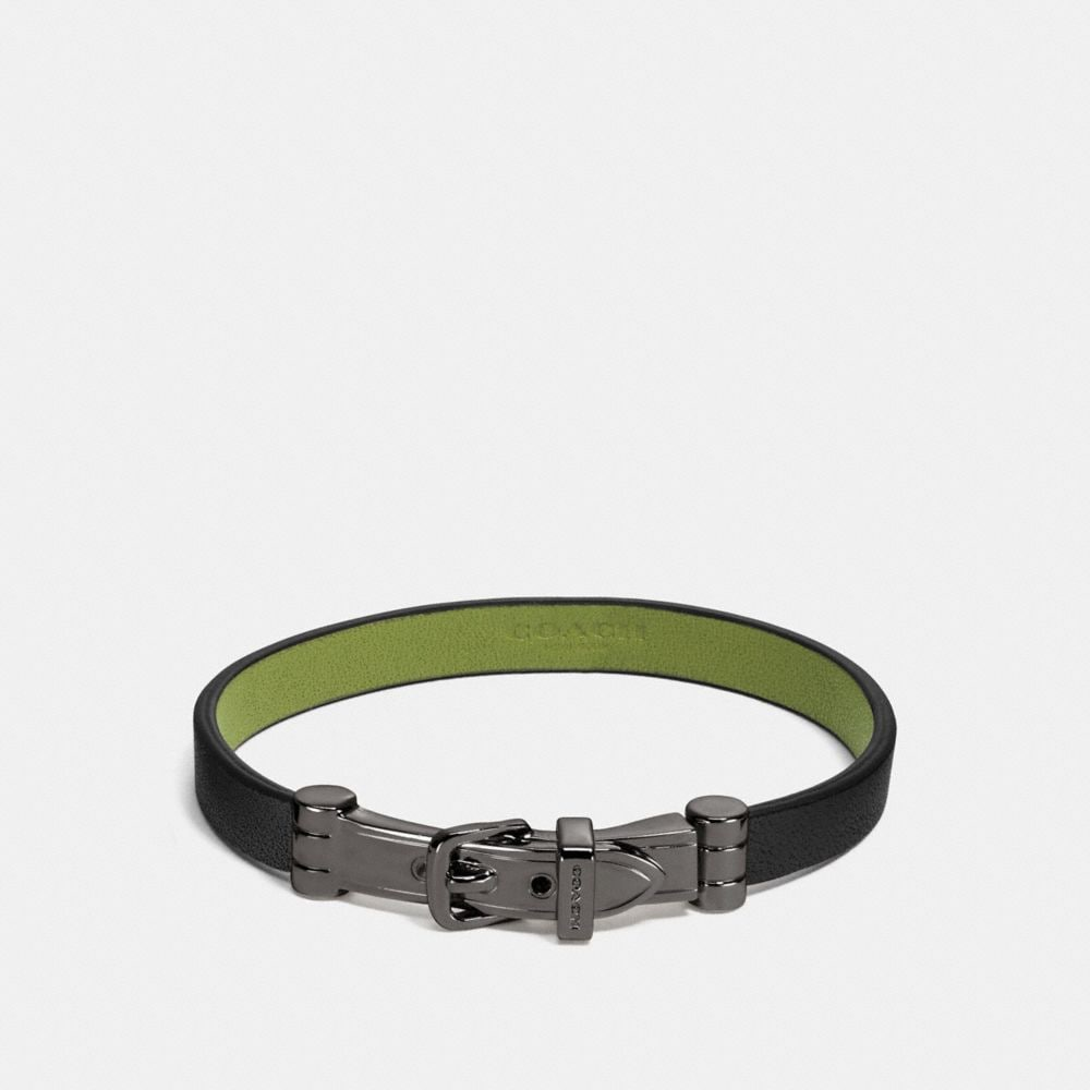 TWO TONE GLOVETANNED LEATHER BUCKLE BRACELET