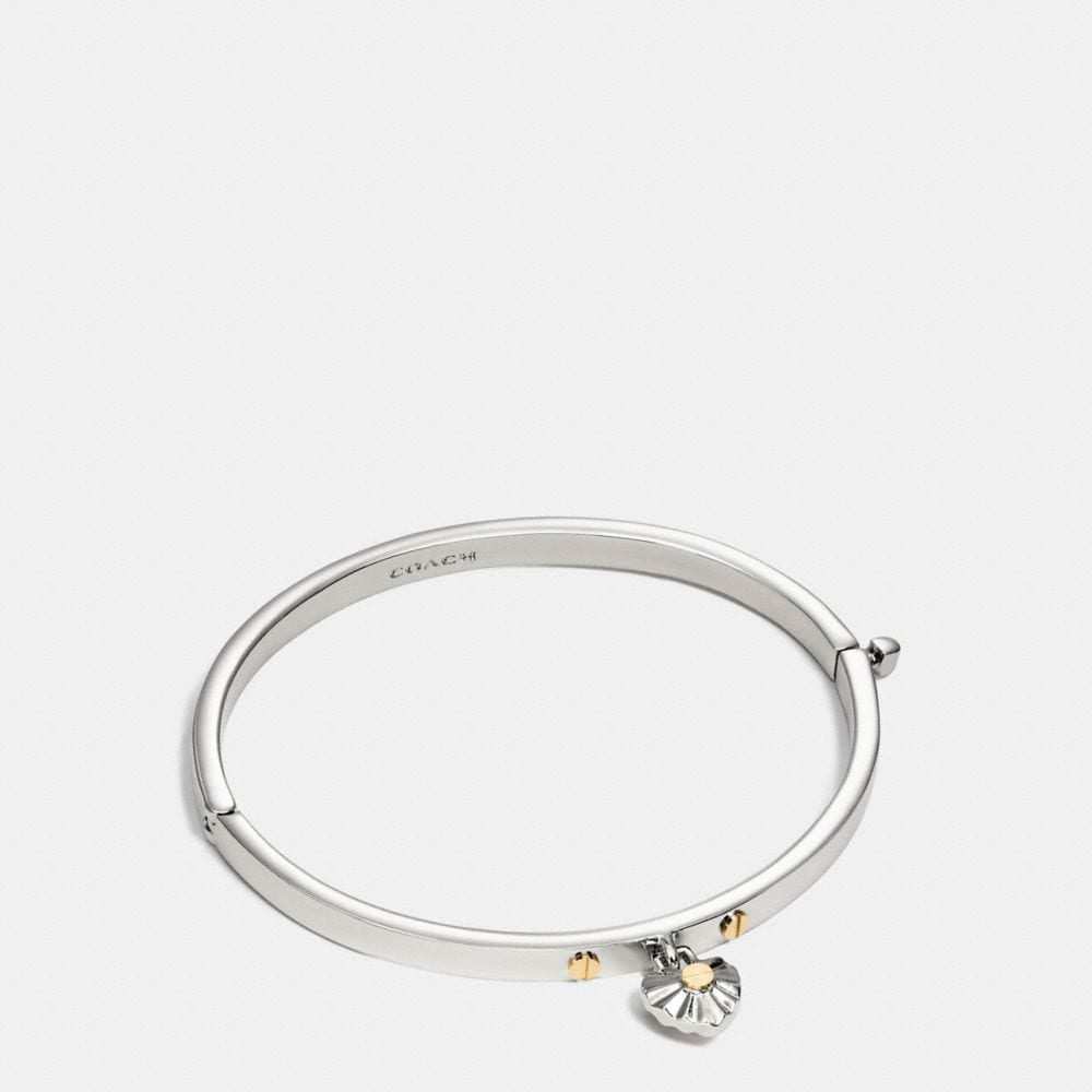 DAISY RIVET HEART HINGED BANGLE
