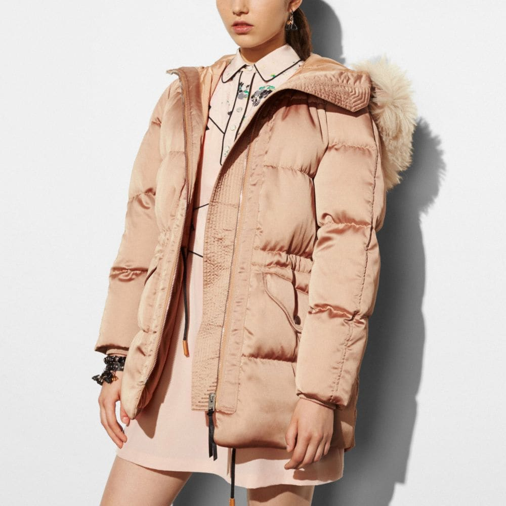 PUFFER PARKA WITH SHEARLING