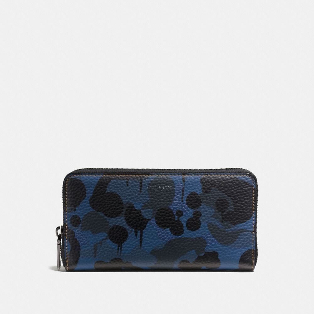 ACCORDION WALLET IN DENIM WILD BEAST PRINT LEATHER