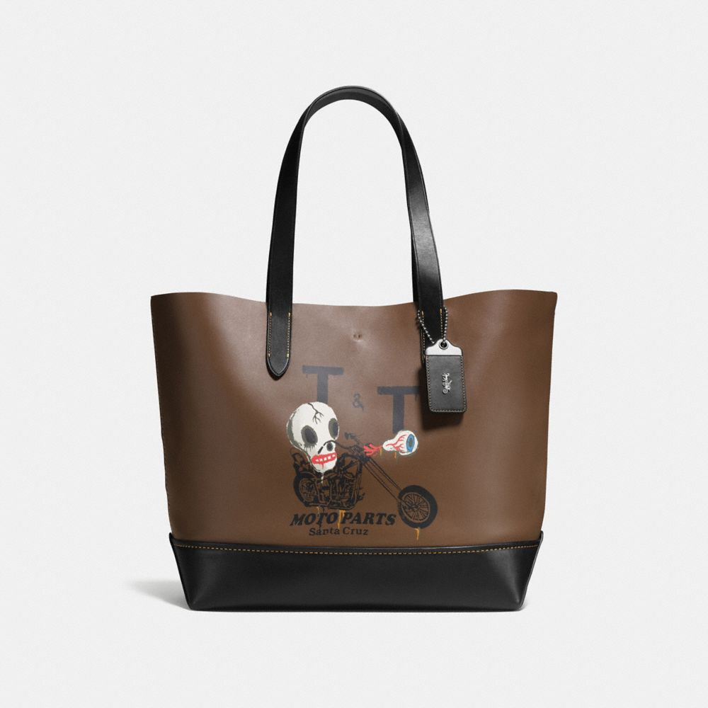 GOTHAM TOTE IN WILD MOTO PRINT GLOVETANNED LEATHER