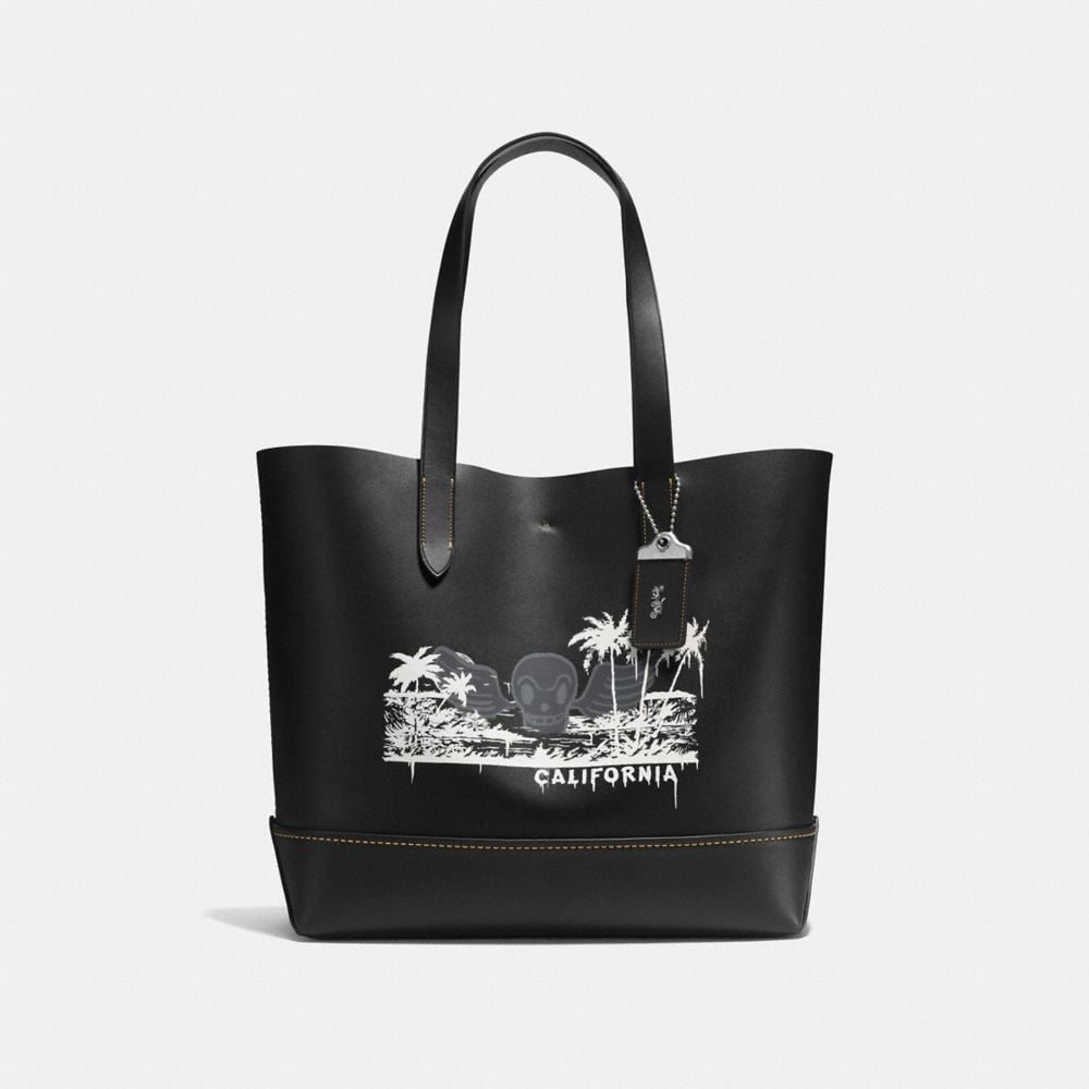 GOTHAM TOTE IN WILD SURF PRINT GLOVETANNED CALF LEATHER