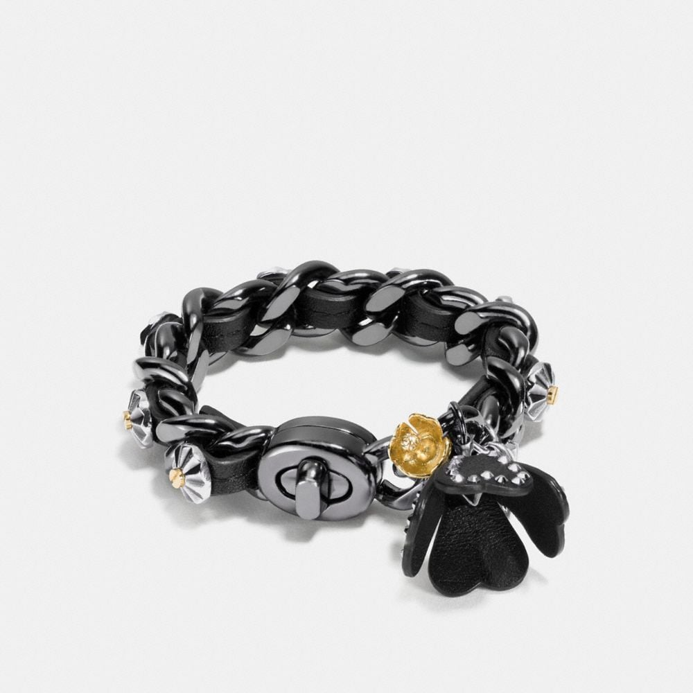 STUDDED DAISY RIVET TEA ROSE CHARM BRACELET