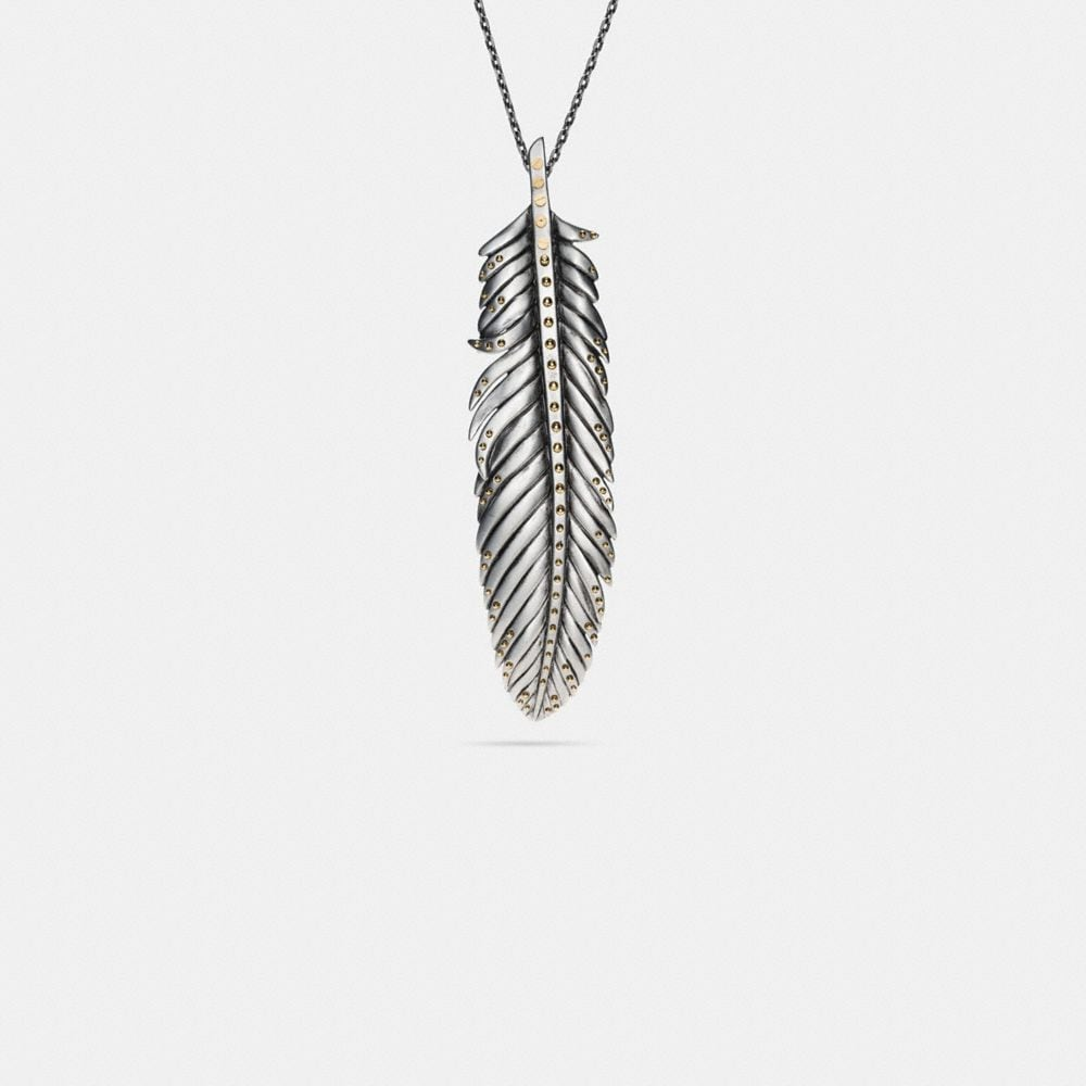 LARGE STUDDED FEATHER NECKLACE