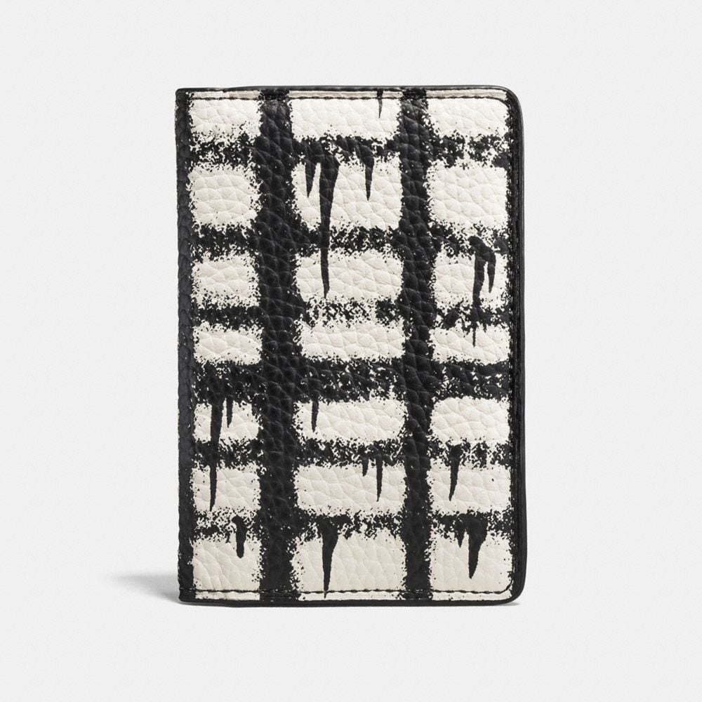 CARD WALLET IN WILD PLAID PRINT PEBBLE LEATHER