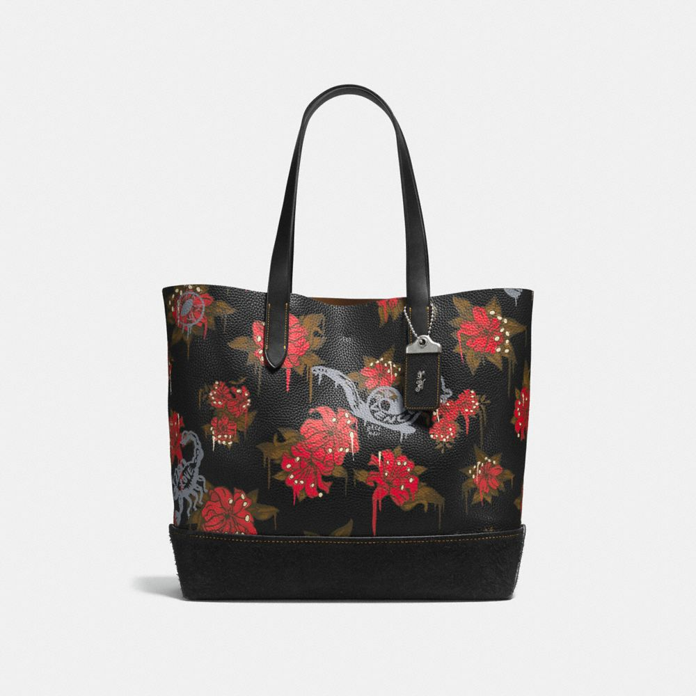 GOTHAM TOTE IN WILD LILY PRINT PEBBLE LEATHER