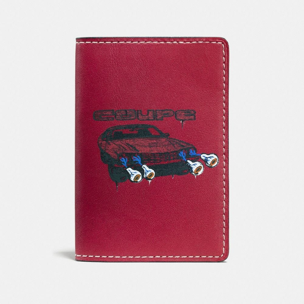 CARD WALLET IN WILD CAR PRINT LEATHER
