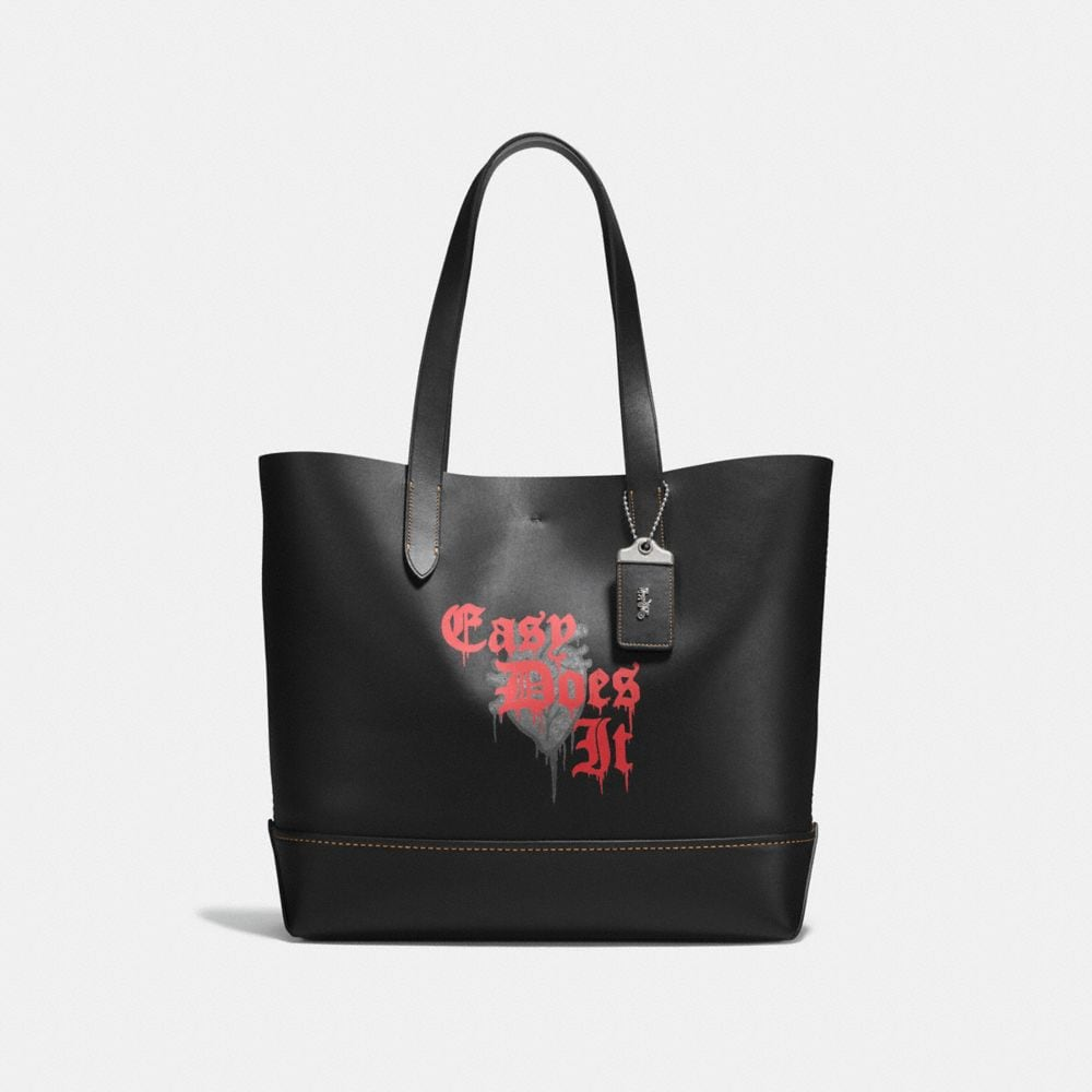 GOTHAM TOTE IN GLOVE CALF LEATHER WITH WILD LOVE PRINT