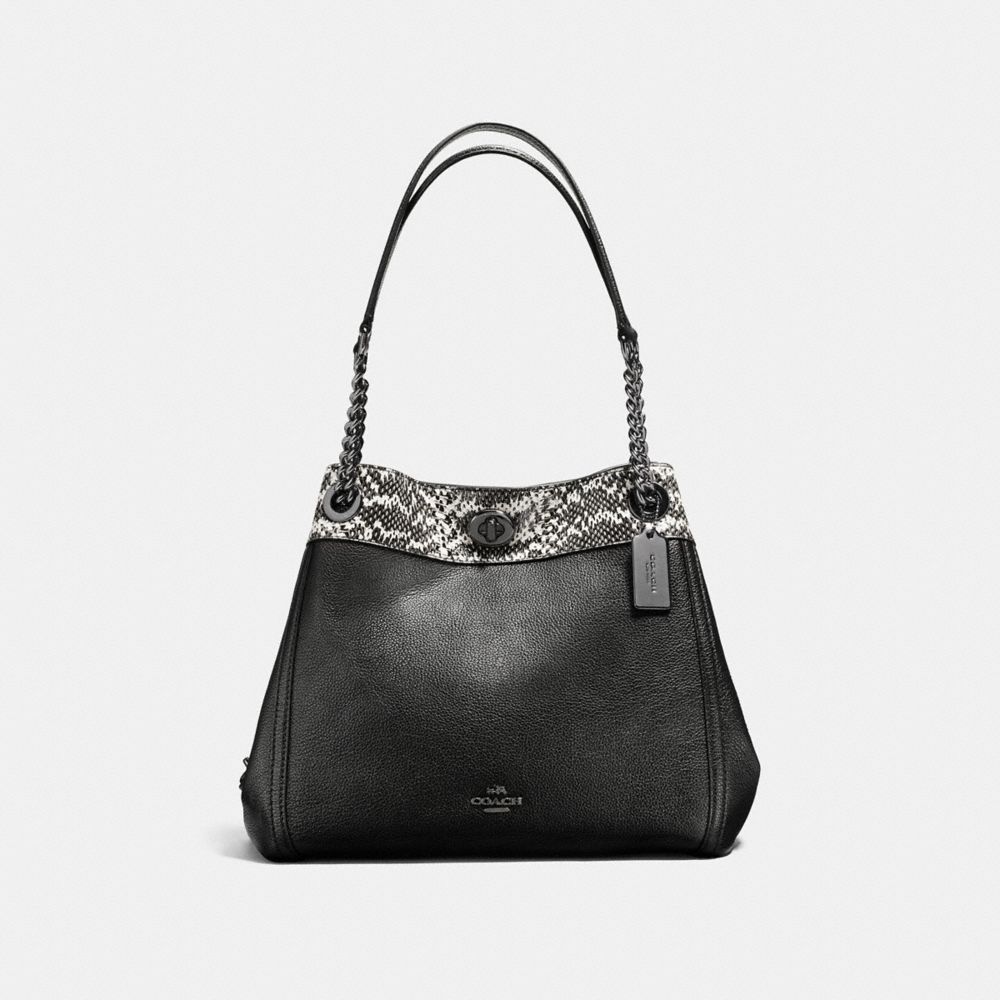 TURNLOCK EDIE SHOULDER BAG IN COLORBLOCK WITH SNAKESKIN DETAIL