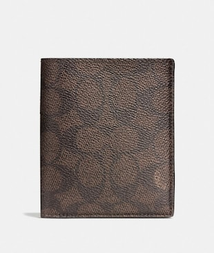 SLIM COIN WALLET IN SIGNATURE COATED CANVAS