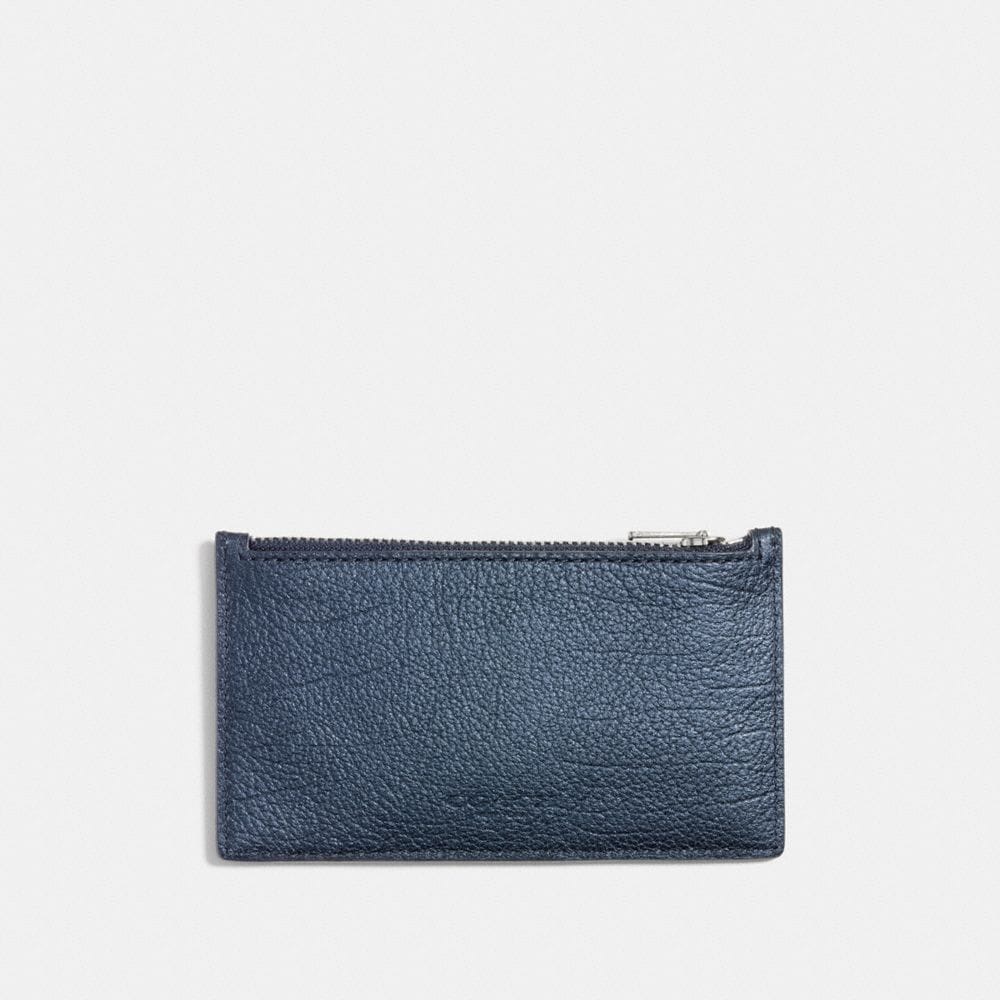 ZIP CARD CASE IN METALLIC LEATHER