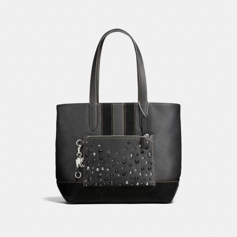 METROPOLITAN SOFT TOTE IN REBEL VARSITY PEBBLE LEATHER WITH STUDS