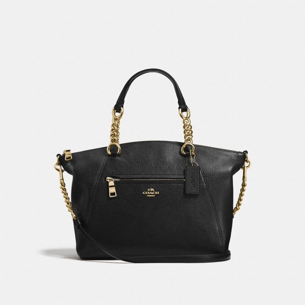 CHAIN PRAIRIE SATCHEL IN POLISHED PEBBLE LEATHER