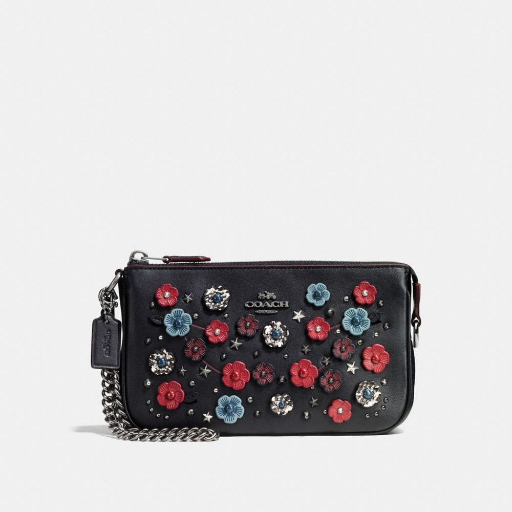 NOLITA WRISTLET 19 IN GLOVETANNED LEATHER WITH WILLOW FLORAL