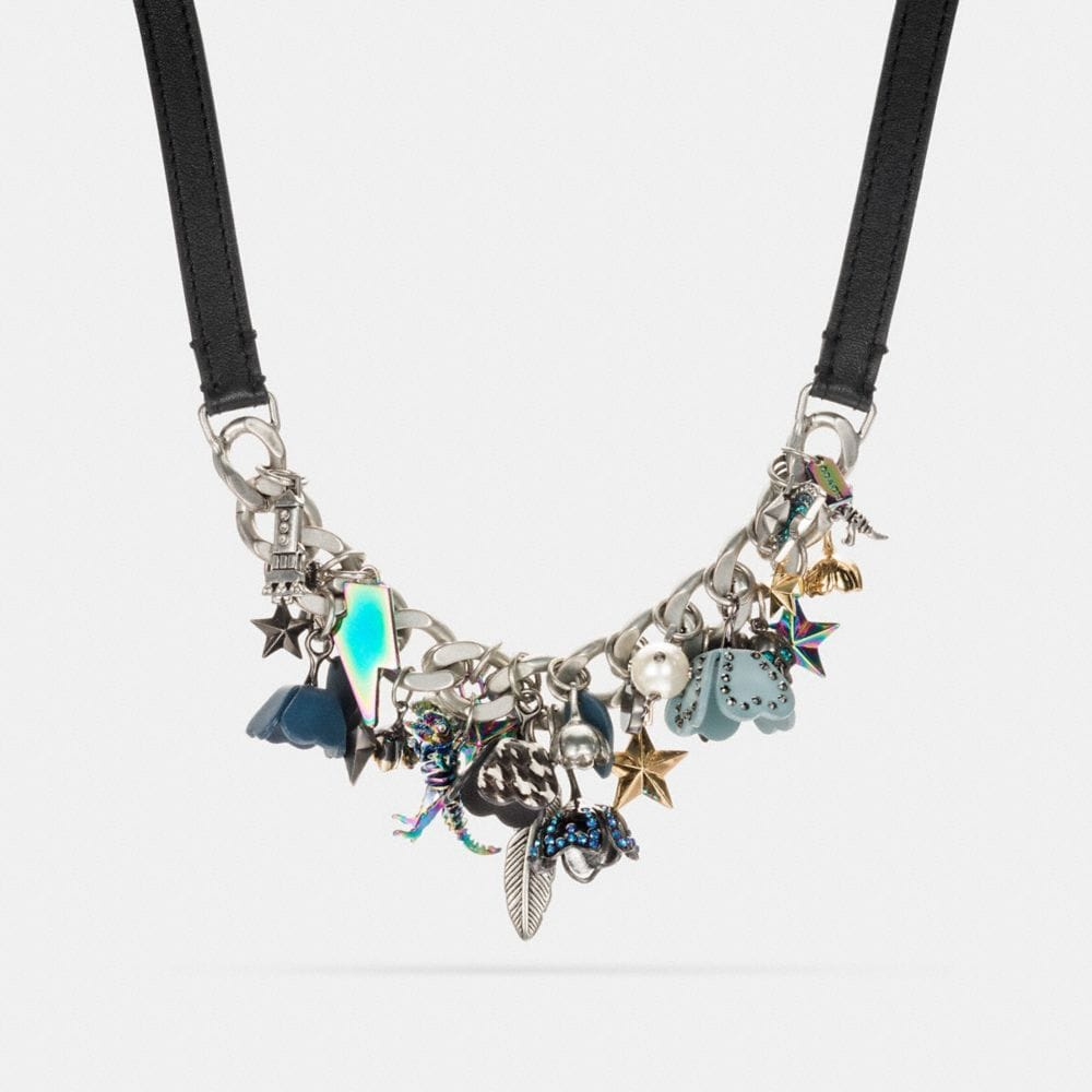 CLUSTERED COACH CHARMS STATEMENT NECKLACE