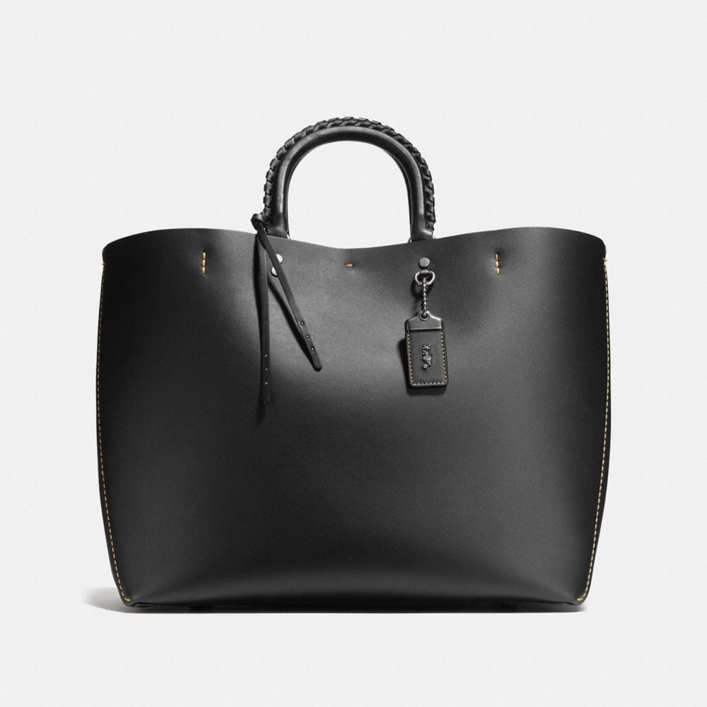 ROGUE TOTE IN GLOVETANNED CALF LEATHER WITH EMBELLISHED HANDLE