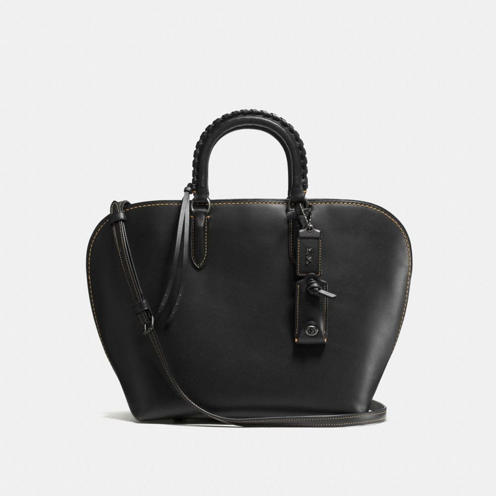 DAKOTAH SATCHEL WITH EMBELLISHED HANDLE IN GLOVETANNED LEATHER
