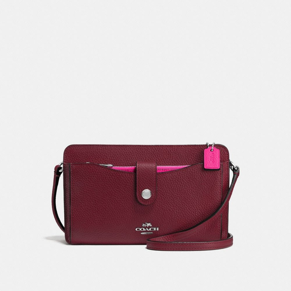 MESSENGER WITH POP-UP POUCH IN COLORBLOCK LEATHER