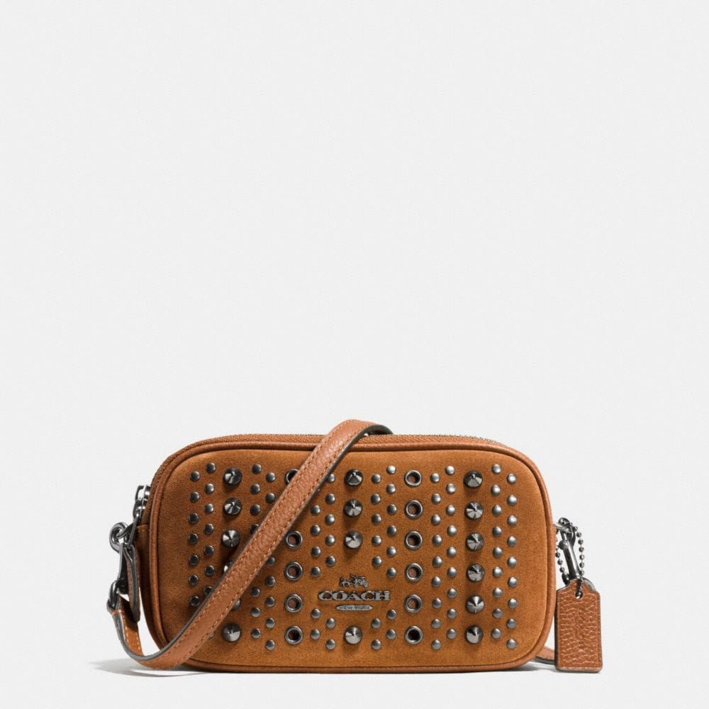 CROSSBODY POUCH WITH ALL OVER STUDS AND GROMMETS