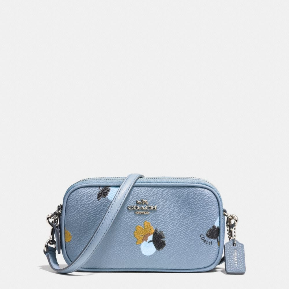 CROSSBODY POUCH IN FLORAL PRINT COATED CANVAS