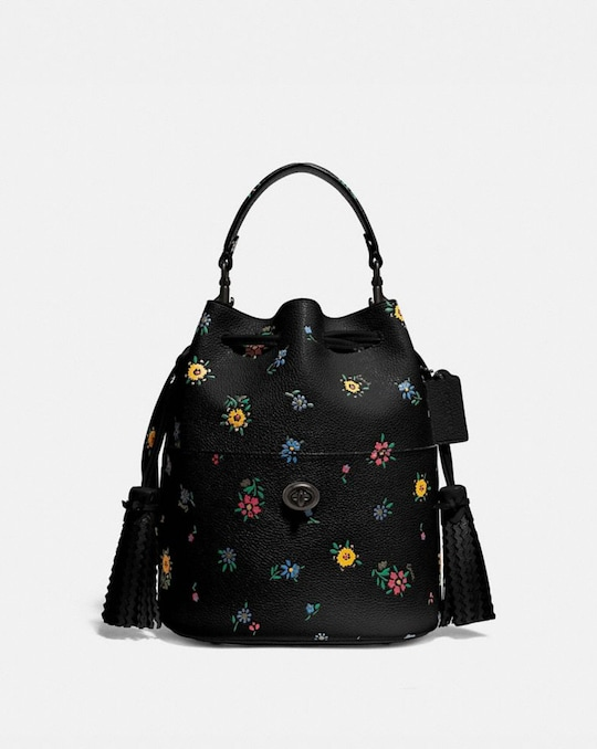 LORA BUCKET BAG WITH WILDFLOWER PRINT