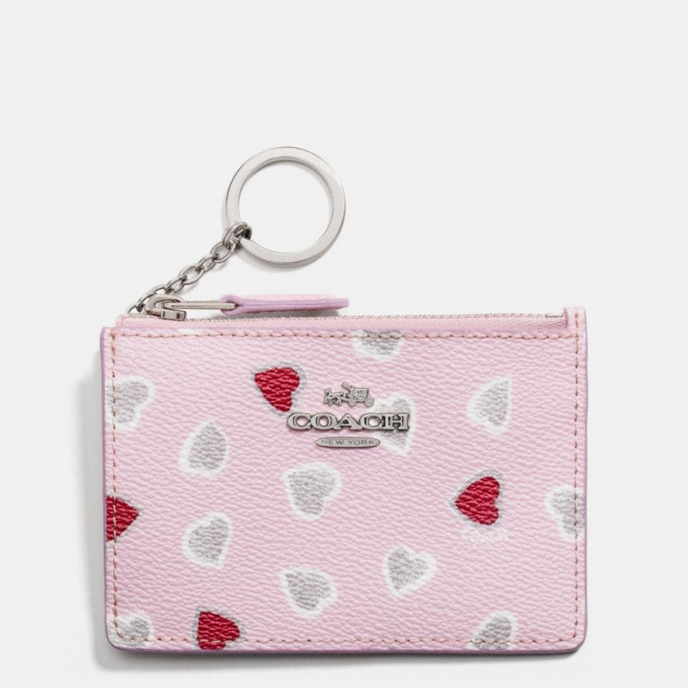 MINI ID SKINNY IN HEART PRINT COATED CANVAS