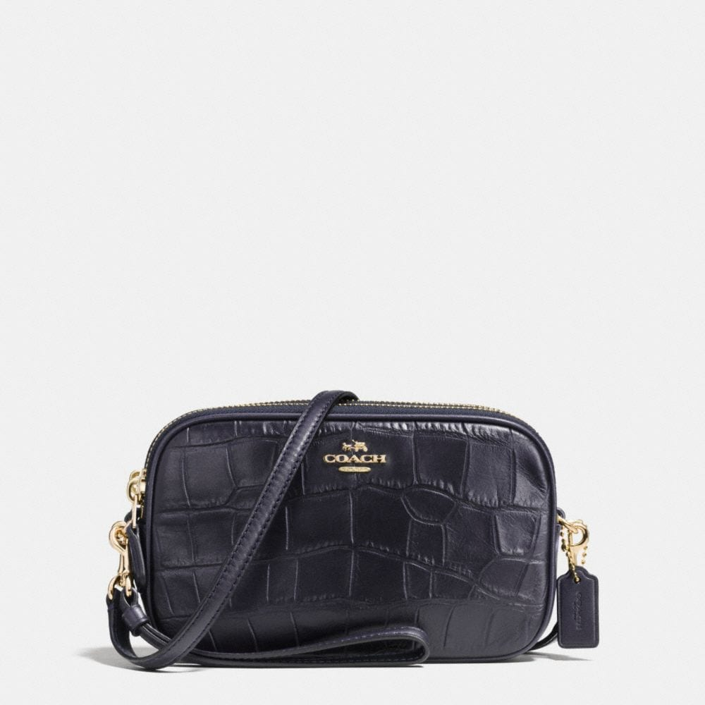 CROSSBODY CLUTCH IN CROC EMBOSSED LEATHER
