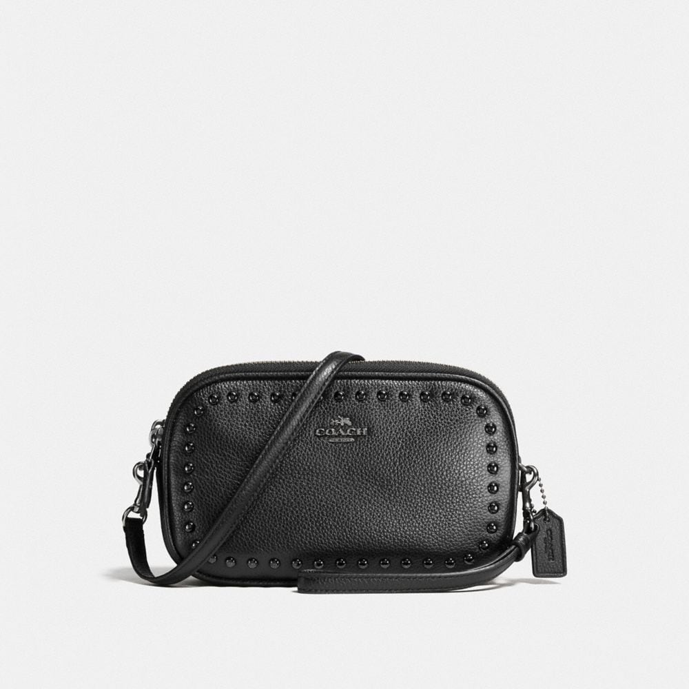 CROSSBODY CLUTCH WITH LACQUER RIVETS