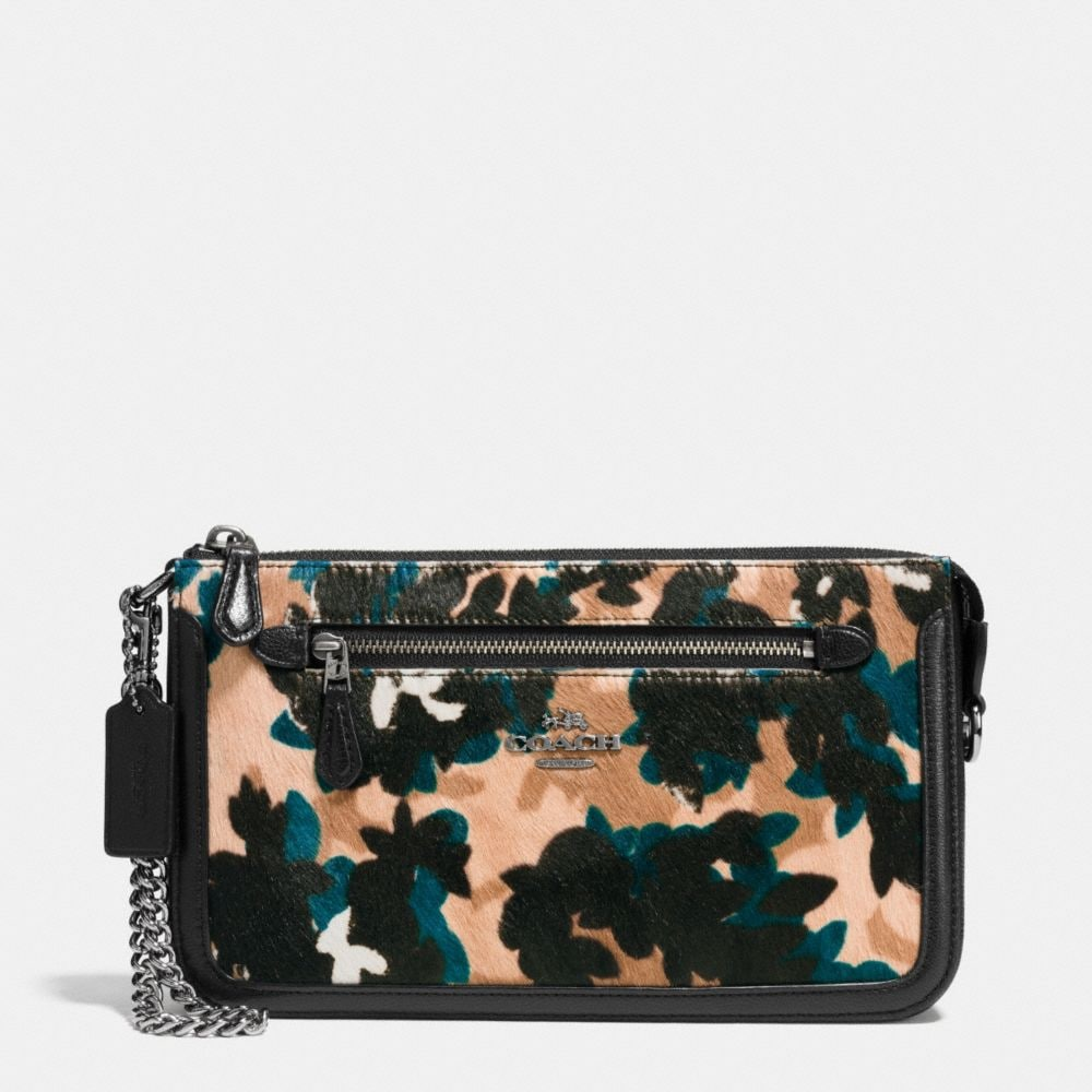 NOLITA WRISTLET IN SCATTERED LEAF PRINTED HAIRCALF