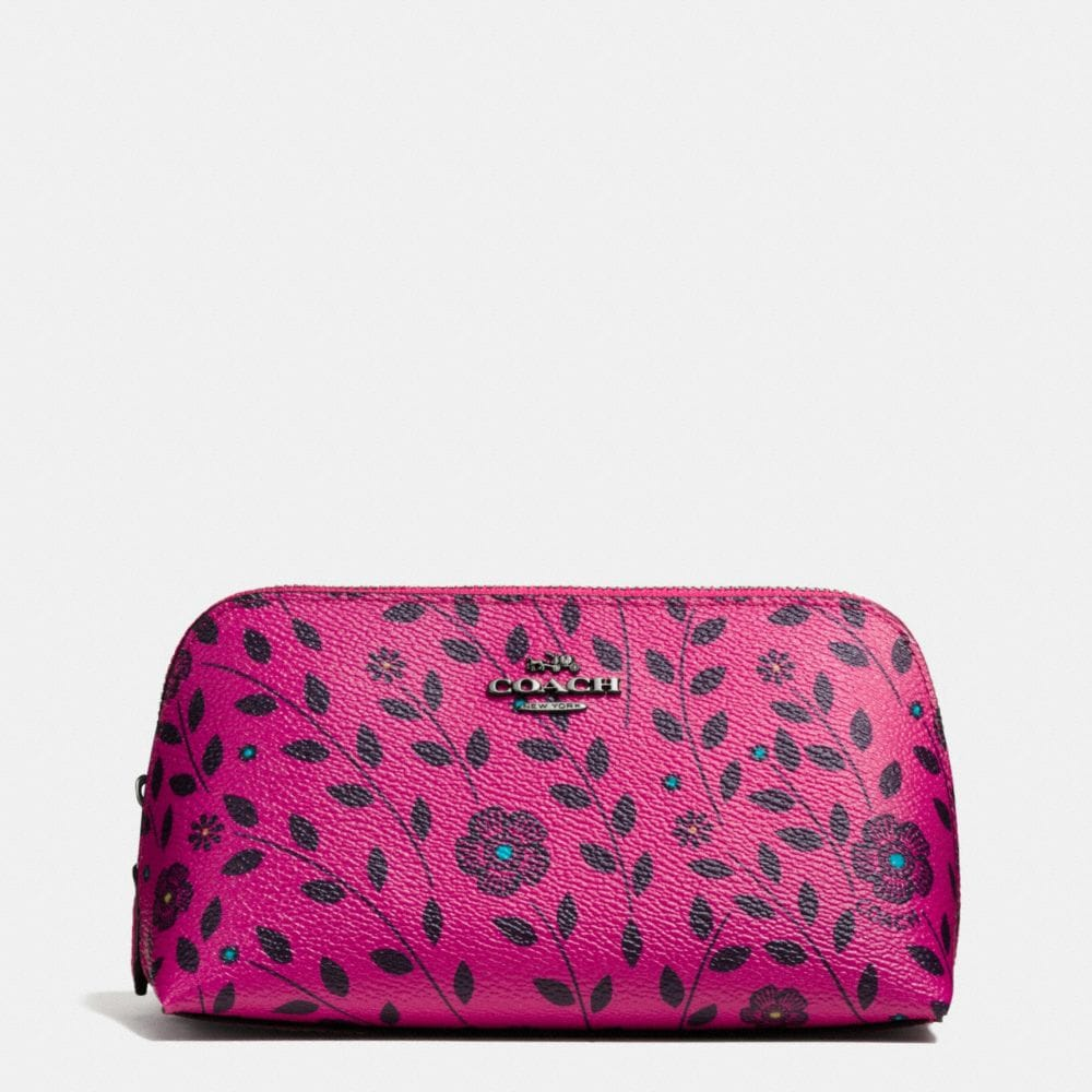 COSMETIC CASE 17 IN WILLOW FLORAL PRINT COATED CANVAS
