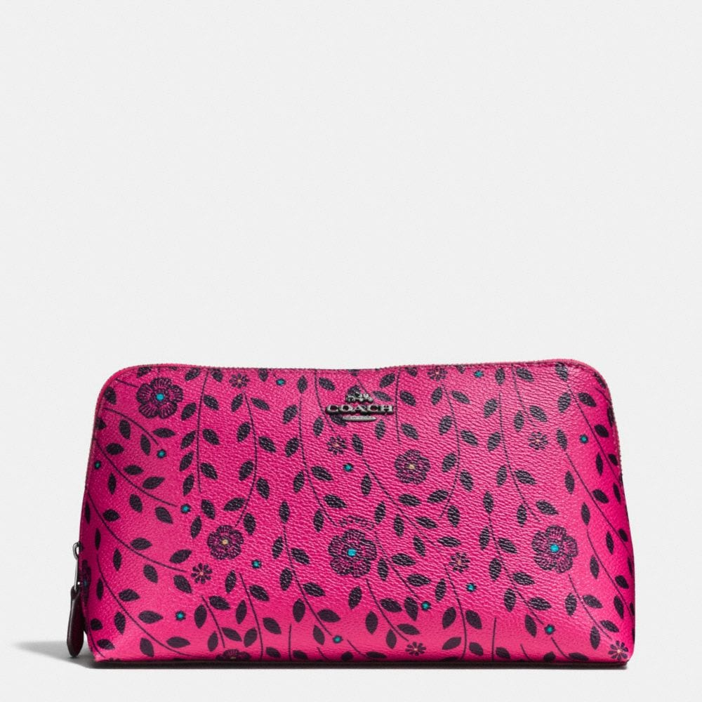 COSMETIC CASE 22 IN WILLOW FLORAL PRINT COATED CANVAS