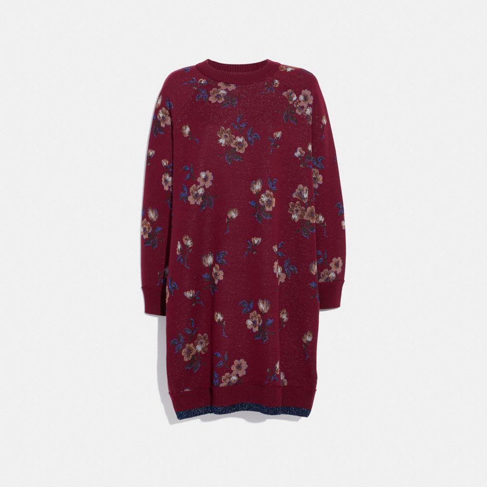 FLORAL JACQUARD SWEATER DRESS