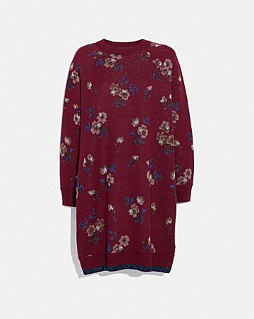 FLORAL JACQUARD SWEATER DRESS