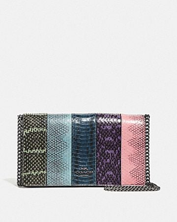 CALLIE FOLDOVER CHAIN CLUTCH IN OMBRE SNAKESKIN