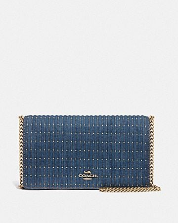 CALLIE FOLDOVER CHAIN CLUTCH WITH QUILTING AND RIVETS