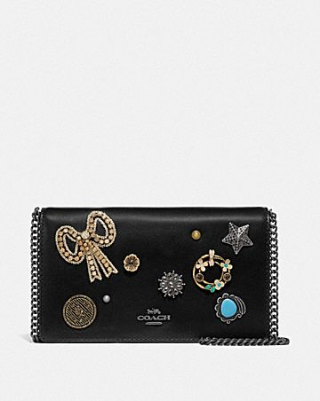 CALLIE FOLDOVER CHAIN CLUTCH WITH VINTAGE JEWELRY