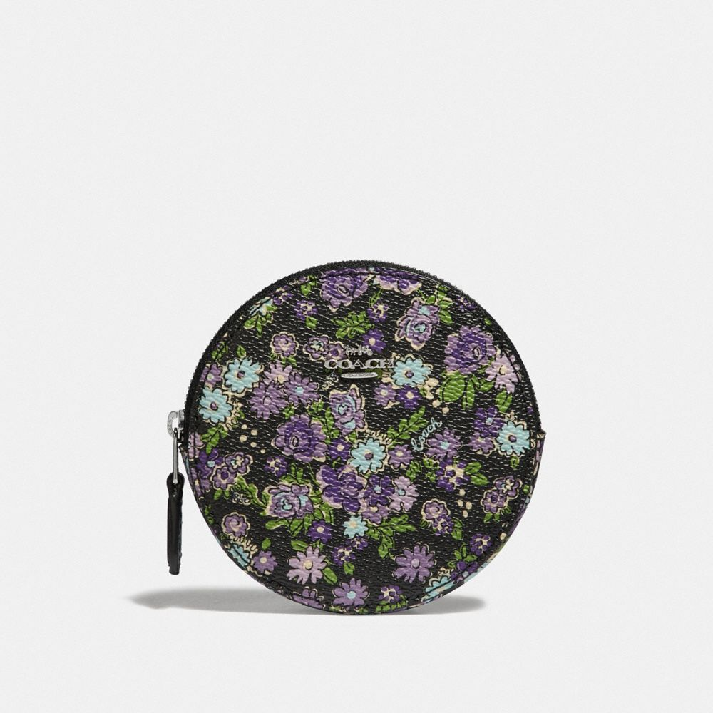 ROUND COIN CASE WITH POSEY CLUSTER PRINT