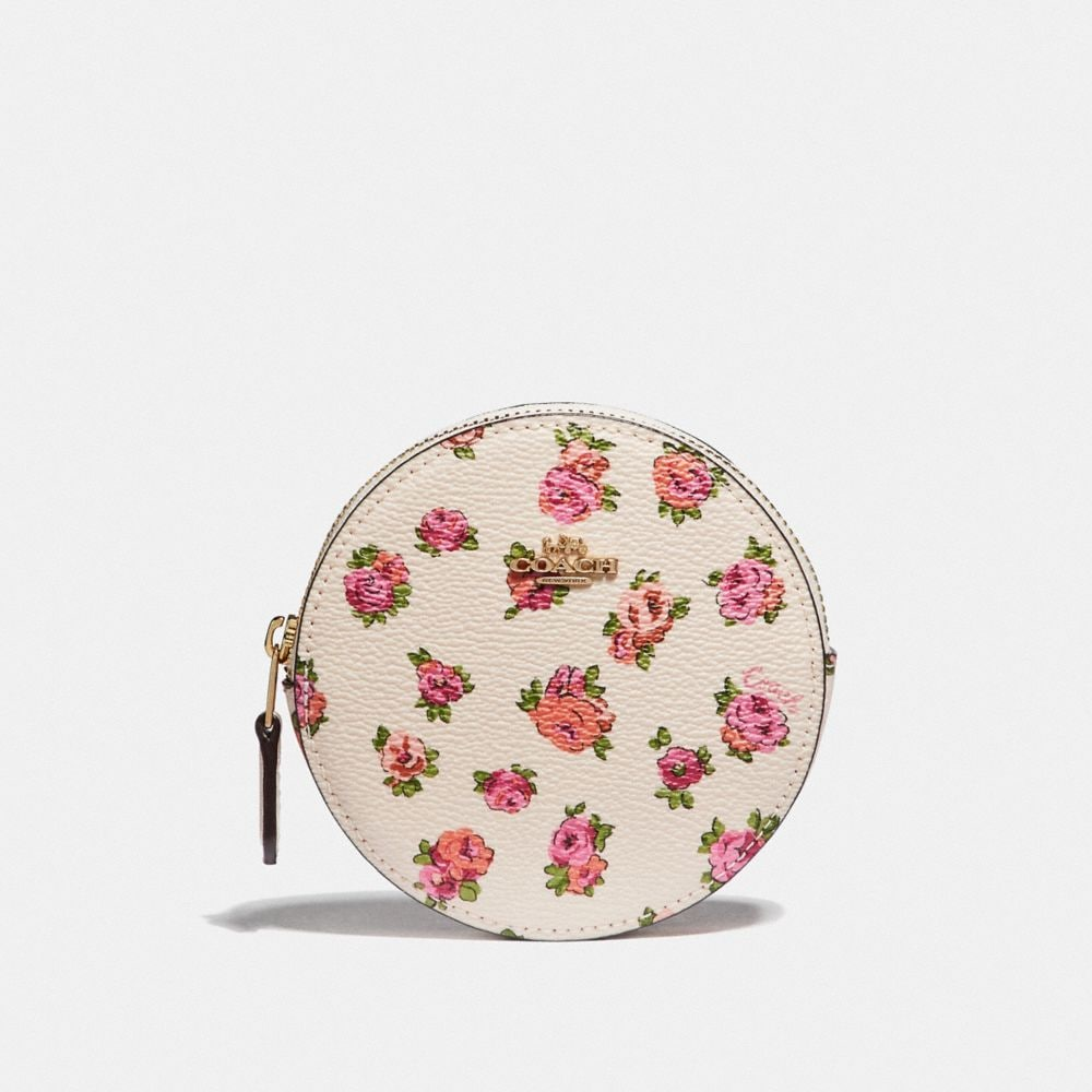ROUND COIN CASE WITH MINI VINTAGE ROSE PRINT