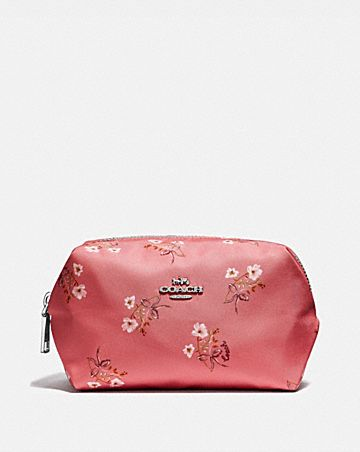 SMALL BOXY COSMETIC CASE WITH FLORAL BOW PRINT