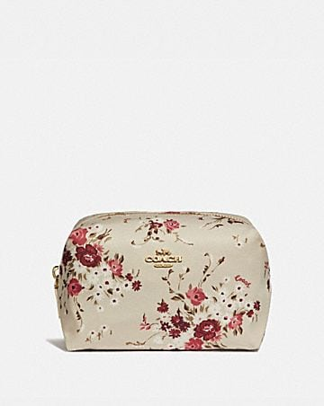 SMALL BOXY COSMETIC CASE WITH FLORAL BUNDLE PRINT