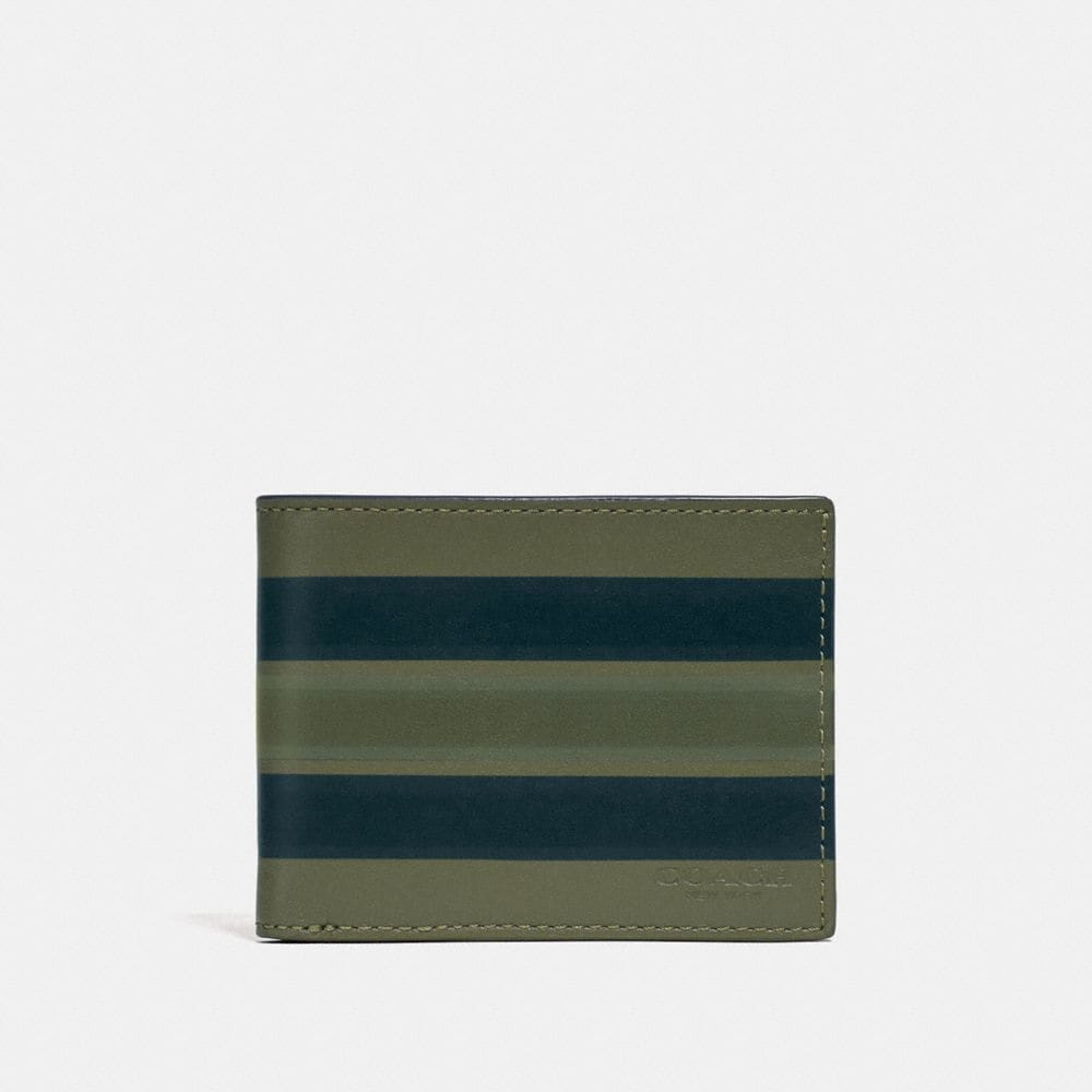 SLIM BILLFOLD WALLET WITH PAINTED VARSITY STRIPE
