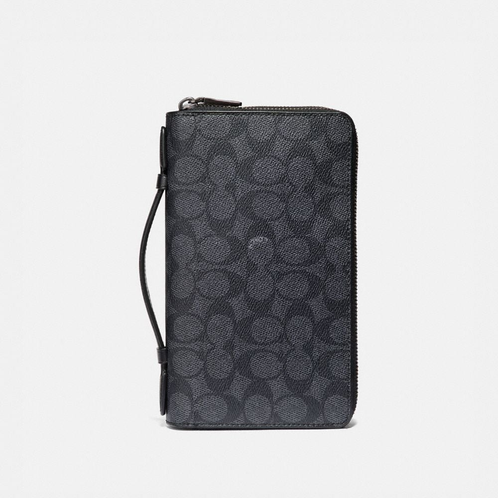 DOUBLE ZIP TRAVEL ORGANIZER IN SIGNATURE CANVAS