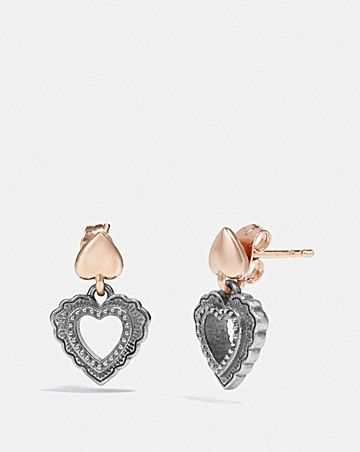 SCALLOP HEART DROP EARRINGS