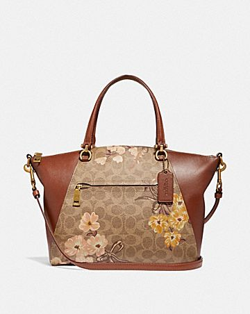 PRAIRIE SATCHEL IN SIGNATURE CANVAS WITH PRAIRIE FLORAL PRINT