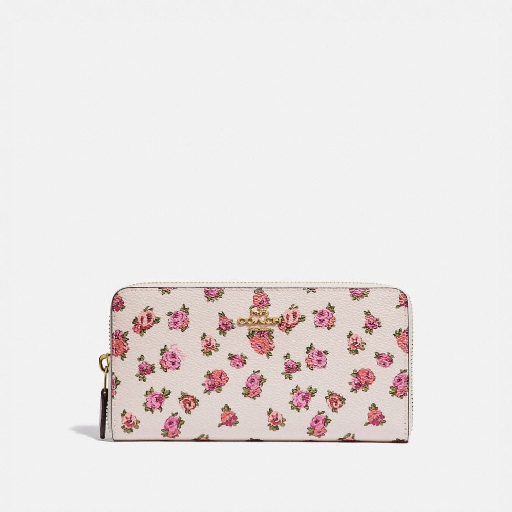ACCORDION ZIP WALLET WITH MINI VINTAGE ROSE PRINT
