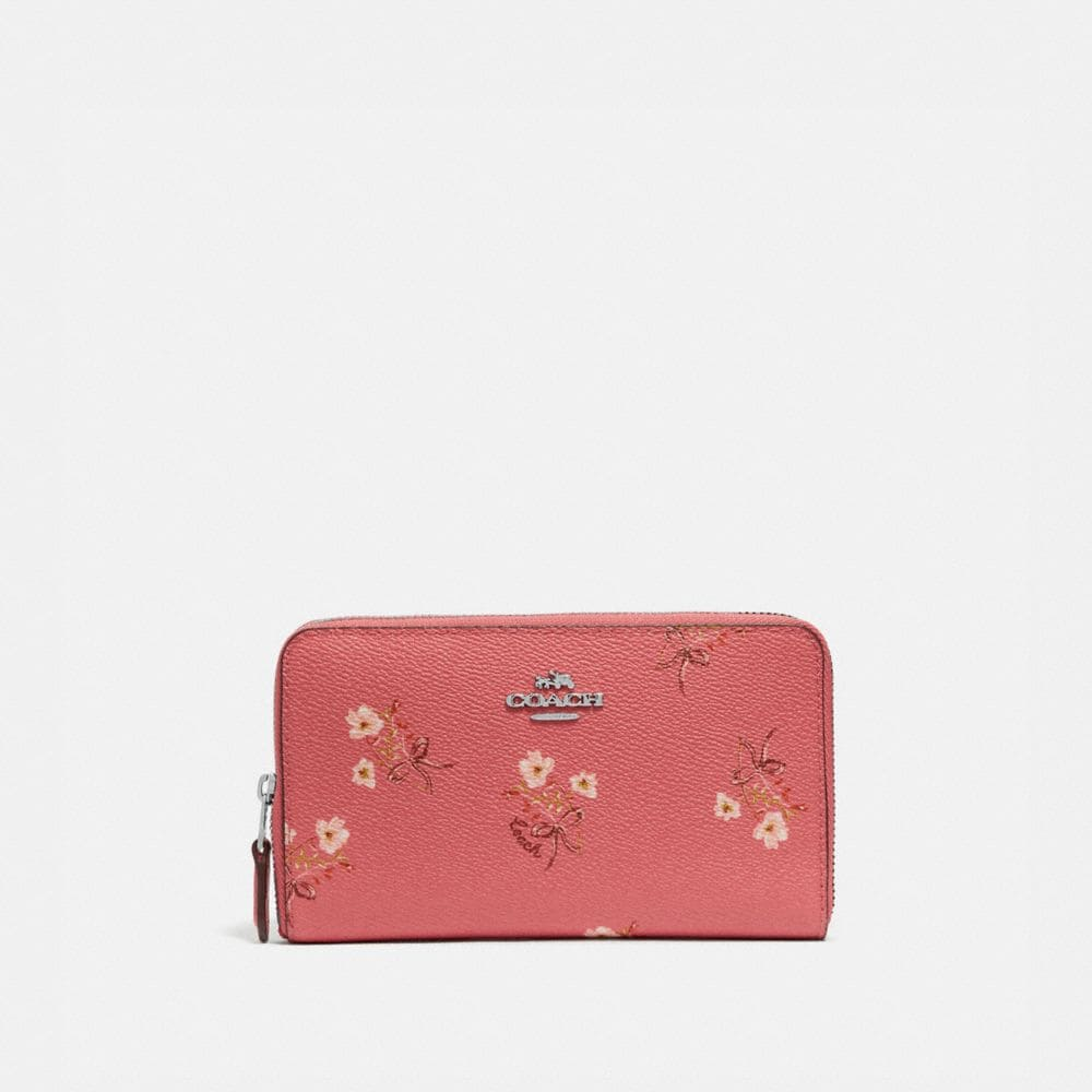MEDIUM ZIP AROUND WALLET WITH FLORAL BOW PRINT