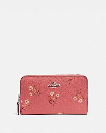 2729c7008b75 MEDIUM ZIP AROUND WALLET WITH FLORAL BOW PRINT ...